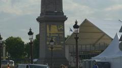 Tilt view of the Egyptian Obelisk in Place de la Concorde, Paris Stock Footage