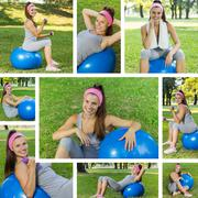 Fitness ,Healthy, Aerobics, Workout, Collage of Young Woman with pilates exer Stock Photos