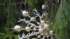 A Christmas tree with silver balls Stock Footage