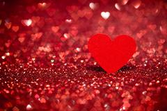 Red heart bokeh background. Valentines day texture. - stock photo