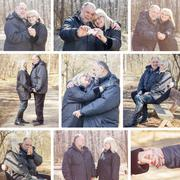 Happy Elderly Senior Romantic Couple, Mosaic of Old people portrait outdoor w - stock photo