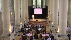 Buisness meeting, conference in a big church - vertical panoramic - stock footage