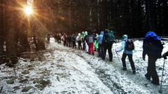 Group of People Hiking to the Mountain through the Winter Forest - stock footage