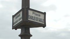 View of Place Charles de Gaule and Avenue Grand Armee sign in  Paris Stock Footage