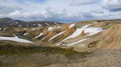 Panorama mountains at Landmannalaugar, Iceland Stock Footage