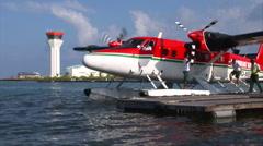 Maldivian Twin Otter Seaplane Stock Footage