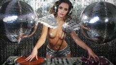 dj music sexy babe gogo dancer diva party disco woman - stock footage
