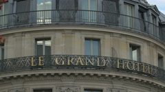 InterContinental Paris Le Grand Hotel sign in Paris - stock footage