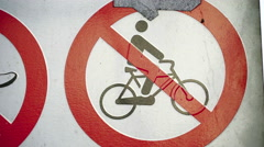 A No bicycle sign on the streetside Stock Footage