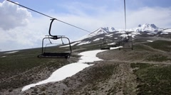 Empty chairlift is ride to Mountain Erciyes, Turkey on a sunny day.   Stock Footage