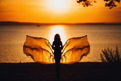 Sexy Woman Silhouette over Red Sunset Sky, Sensual Female on Beach, Vacation Stock Photos