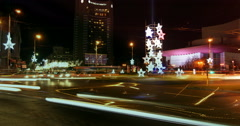 BUCHAREST - ROMANIA, December 2015, Night traffic  with car pass  and bright Stock Footage