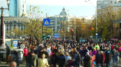 Bucharest, Romania -  December 1 2015, Crowd of people after parade - stock footage