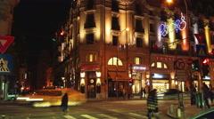 BUCHAREST, ROMANIA  - November 2015: Night traffic over queen Elizabeth Avenue Stock Footage