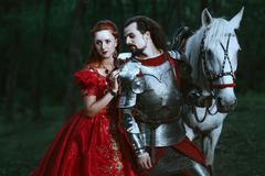 Stock Photo of Medieval knight with lady