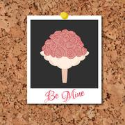 Vector corkboard with instant photo card and wedding flowers - stock illustration