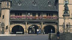 Colmar, France 1977: people walking in the central part of the city Stock Footage