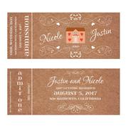 Ticket for Wedding Invitation with wedding house Stock Illustration