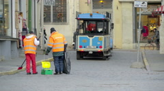 The street sweepers cleaning the road Stock Footage