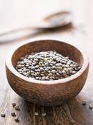 rustic french green puy lentil - stock photo