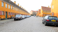 Cars are allowed to park in the old town area Nyboder  - movielocation Stock Footage