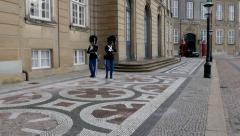 Her Majestys royal Lifeguards in front of the castle - nice cobblestones - stock footage