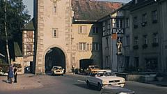 Germany 1977: traffic in a small town Stock Footage