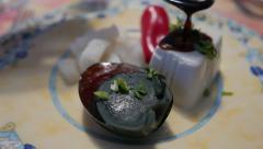Chinese Cuisine starter Thousand Year Egg Tofu Salad Stock Footage