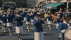 Innsbruck 1977: orchestra parade downtown - stock footage