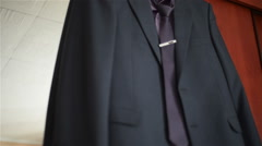 Man suit in the room Stock Footage