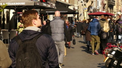 Time Lapse Zoom - Crowds of People Walking Down Busy Street  - Amsterdam Stock Footage