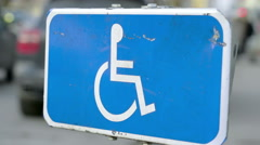 A sign for disable lane Stock Footage