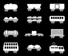 Rail-freight traffic icons Stock Illustration