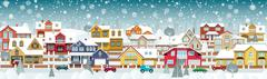 Life in the suburbs (Winter day) - stock illustration