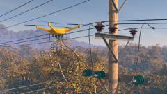 UAV drone surveying power lines in a forested area, 3D animation Stock Footage