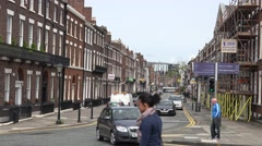 4K Traffic car residential district suburban area Liverpool town people commute  Stock Footage