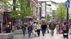 4K Busy commercial street Liverpool tourist people enjoy shopping activity shop  Stock Footage