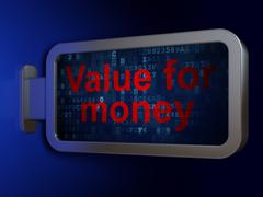 Stock Illustration of Currency concept: Value For Money on billboard background