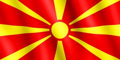 Flag of Republic of Macedonia waving in the wind - stock illustration