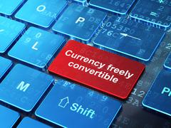 Currency concept: Currency freely Convertible on computer keyboard background - stock illustration