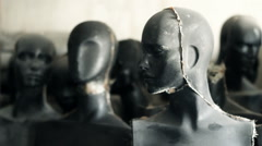 Woman black mannequins are standing in warehouse - stock footage