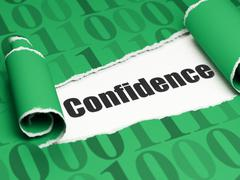 Business concept: black text Confidence under the piece of  torn paper - stock illustration