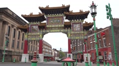 4K Tourist visit Chinese Gate China Town Liverpool tourism attraction asian icon Stock Footage