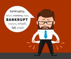 Sad business man crying because of bankruptcy Stock Illustration