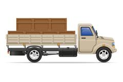 cargo truck delivery and transportation goods concept vector illustration - stock illustration
