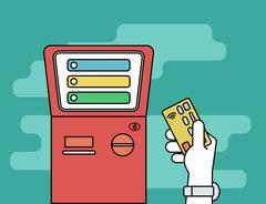 Human hand with credit card getting access to payment terminal Stock Illustration