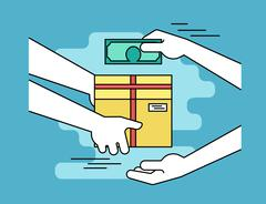 Payment by cash for express delivery - stock illustration