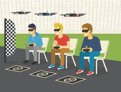 Quadrocopter racing competition new sport Stock Illustration