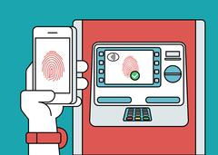Mobile access to ATM via smartphone using fingerprint identification - stock illustration