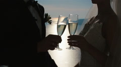 Happy couple, champagne glasses during a toast Stock Footage